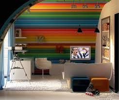 Palatial Rainbow Wall Kids Room Design With White Tapestry And Closet That Creative Feeling