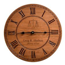 cherry wood 12 inch wall clock for lawyers
