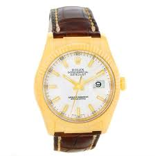 rolex datejust 18k yellow gold leather