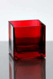4 x 4 x 4 cube glass vase clear ruby