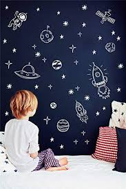 Wall Decal Quote Words Lettering Decor Sticker Vinyl Outer Space Nursery For Boy Room Kids Rocket Ship Astronaut Planet Decorate Educational Toys Planet