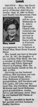 Obituary for Mary Ada Davidson Lemek, 1917-1999 (Aged 81) - Newspapers.com