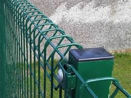 A Part Of Green Brc Fence Which Connected With Round Post Is In The Picture Safety Fence Fence Fence Design