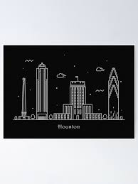 Houston Skyline Minimal Line Art Poster Poster By Geekmywall Redbubble
