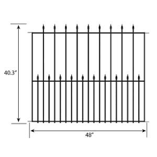 Grand Empire Xl Fence Panel 2 1 Ft X 3 05 Ft Grand Empire Xl Powder Coated Steel Fence No Dig Powder Coated Steel Decorative Metal Fence Panel 2 1 Ft