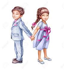 Ilustracion De Acuarela Pareja Romantica Ninos Lindos Mejores