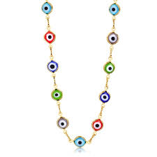 multi color crystal evil eye necklace