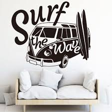 Cheap Wall Stickers Buy Quality Home Garden Directly From China Suppliers Surf The Wave Camper Car W In 2020 Beach Wall Decals Kids Wall Decals Wall Stickers Bedroom