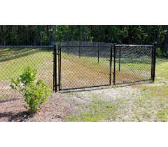 Residential Black Chain Link Double Drive Gate America S Fence Store