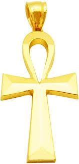 10k yellow gold egyptian ankh cross