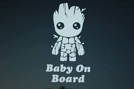 Amazon Com Five Star Supply Baby On Board Baby Groot Sticker Vinyl Decal Choose Color Car Window V521 White Kitchen Dining
