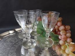 sherry glasses etched 1930s stemware