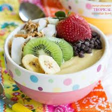 mango pineapple tropical smoothie bowl
