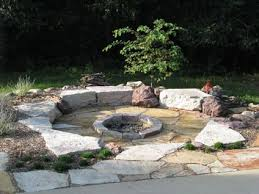 natural looking fire pit area might