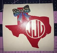 Monogram Texas Or Any State Decal With Holographic Bow For Your Yeti Rambler Ebay