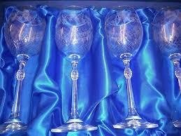 4 bohemia tall stemmed crystal glasses