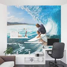 Surfing Wave Wall Mural Removable Surf Wall Decal Wallums