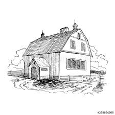 Rural Landscape With Old Farmhouse And Garden Hand Drawn Illustration In Vintage Style Large Residential Barn With A Wooden Fence Vector Design Buy This Stock Vector And Explore Similar Vectors At