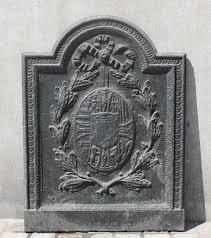cast iron fireplace back plate blason