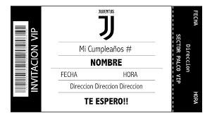 Tarjeta Invitacion Cumpleanos Digital Imprimible Juventus