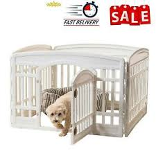Exercise Pet Playpen 24 4 Panel With Door White Small Dog Fence Play Yard Gate Ebay