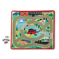 Melissa Doug Round The Town Road Rug And Car Activity Play Set With 4 Wooden Cars 39 X 36 Inches Target