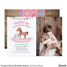 Cowgirl Horse Birthday Invitation With Photo Zazzle Com