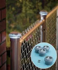 Set Of 4 Chain Link Solar Post Caps Solar Post Caps Chain Link Fence Backyard Lighting