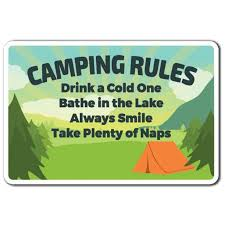 Camping Rules 3 Pack Of Vinyl Decal Stickers For Laptop Car Walmart Com Walmart Com