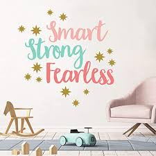 Amazon Com Inspirational Quote Wall Decal Smart Strong Fearless Quotes Wall Stickers Watercolor Wall Posters For Kids Bedroom Positive Words Classroom Nursery Decorations Kitchen Dining