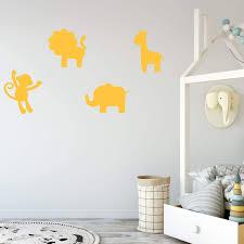 Lion Monkey Elephant And Giraffe Animal Kids Wall Decal Vinyl Decor Customvinyldecor Com