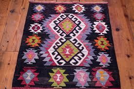 small boho kilim rug purple black