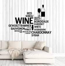 Vinyl Wall Decal Wine Bar Bottle Glass Restaurant Words Stickers Uniqu Wallstickers4you