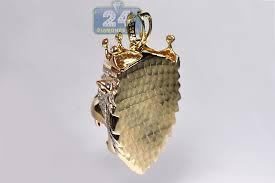 mens diamond crown lion head pendant
