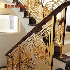 China Interior Golden Color Stair Railing Safety Fence For Villas Luxury Staircase China Luxury Guardrail Aluminum Guardrail