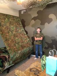 Where S Kevin Camo Wall Was A Hit With Him Camo Kids Room Boys Army Room Camouflage Room