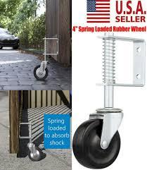 Spring Loaded Rubber Wheel Gate Caster Gate Support Wood Chain Fences Link 4 Us Ebay
