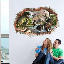 3d Wall Sticker Dinosaur Smashed Window Kids Room Decoraton Vinyl Decals Sale Price Reviews Gearbest