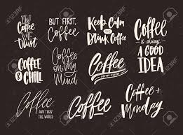 collection of coffee lettering isolated on dark background set