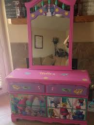 Beautiful Trolls Dresser We Did Using Decoupage Imagine Your Furniture Is Our Facebook Page Themed Kids Room Girls Bedroom Themes Toddler Bedroom Girl