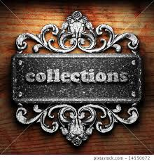 collections word of iron on wooden background - Stock Illustration ...