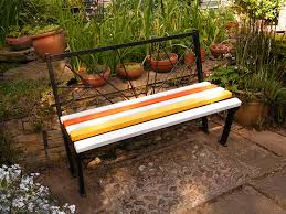art deco bench created from recycled