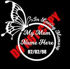 In Loving Memory Of My Mom Custom Car Vinyl Decal Window Sticker Cute Butterfly Ebay