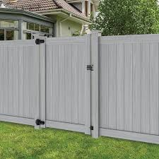 Freedom Hampton 6 Ft H X 4 Ft W Woodgrain Gray Vinyl Flat Top Fence Gate In The Vinyl Fence Gates Department At Lowes Com