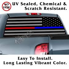 Thin Blue Line Thin Red Line Tactical American Flag Reverse Facing Back Window Graphic