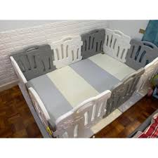 Eduplay Baby Fence Gate 10 Panels With Caraz Foldable Mat Babies Kids Cots Cribs On Carousell