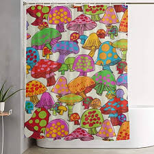 Amazon Com Niyoung Shower Curtains Mushroom Style For Bathroom With 12 Strong Plastic Hooks Stylish Kids Room Decor Curtain 70 X 60 Inches Waterproof Easy Care Thick Bath Curtains Kitchen Dining