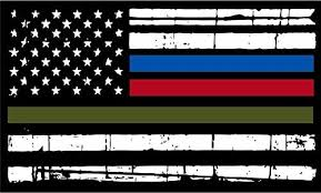 Amazon Com Thin Blue Line Firefighter Police Military Tattered Flag Decal Vinyl Sticker 5 Automotive