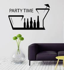 Party Time Bar Kitchen Decor Alcohol Drink Wall Sticker Vinyl Decal Ig2090 Wall Sticker Party Time Vinyl Decals