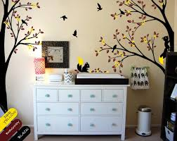 Large Wall Tattoo Modern Nursery Corner Trees Wall Decal With Flying Birds Squirrels And Leaves Nursery Wall Stickers Jw213 Tree Wall Decal Wall Decalswall Sticker Aliexpress